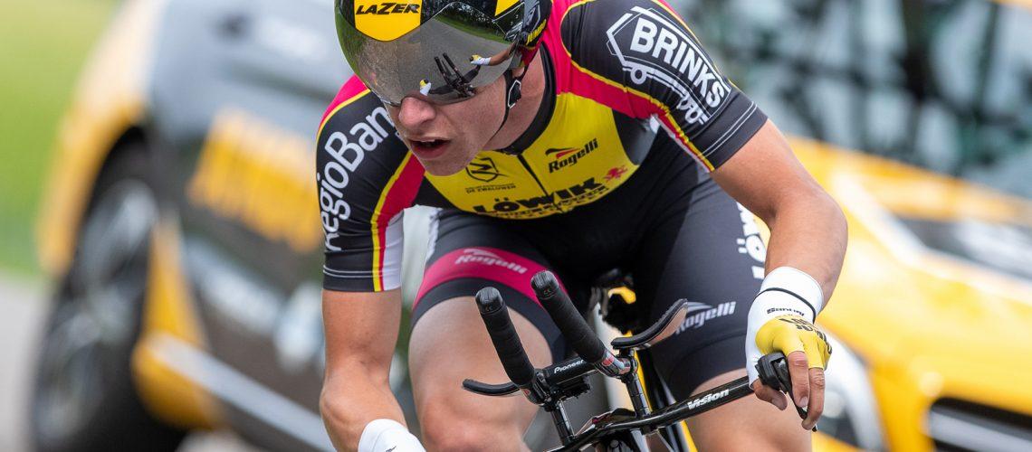 19-06-2019: Wielrennen: NK tijdrijden nieuwelingen junioren: Emmen  Lars Boven (Reutum) pakt op overtuigende wijze de titel bij de junioren